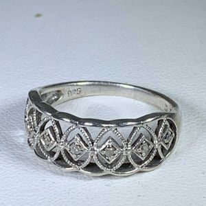 Designer Sterling Silver Ornate Diamond Ring 9.25